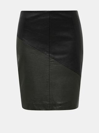 Čierna kožená púzdrová sukňa Selected Femme Marva