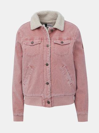 Růžová manšestrová bunda s umělým kožíškem Roxy Desert Sands