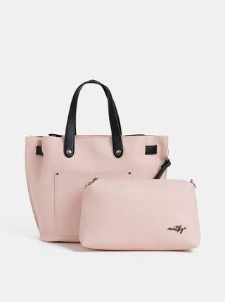 Světle růžová kabelka s crossbody kabelkou Meatfly 2v1