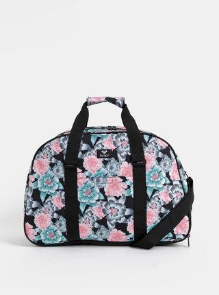 Čierna kvetovaná športová taška Roxy Feel Happy