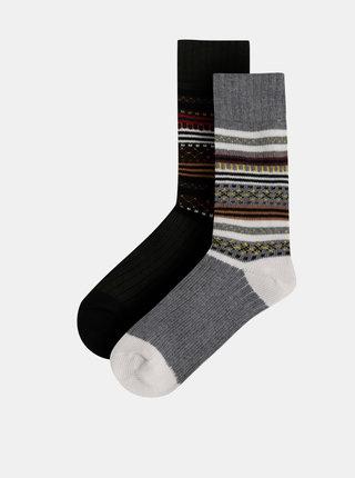 Sada dvou párů vzorovaných ponožek v zelené a šedé barvě Selected Homme Nordic