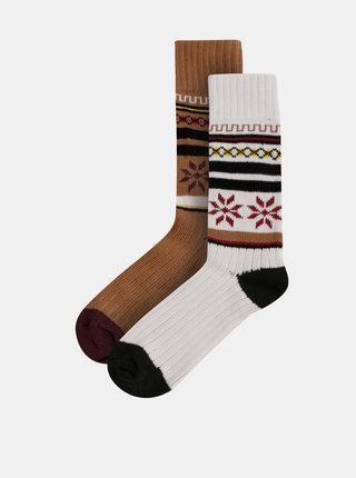 Sada dvou párů vzorovaných ponožek v bílé a hnědé barvě Selected Homme Flake