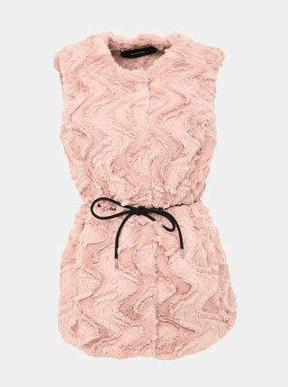 Růžová vesta z umělé kožešiny VERO MODA Curl