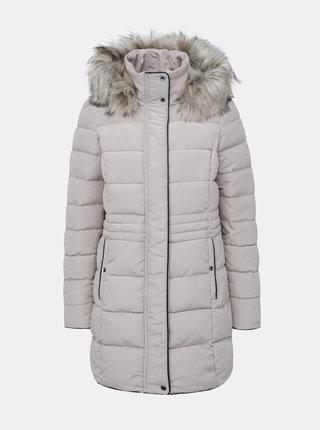 Béžový zimný kabát s umelým kožúškom VERO MODA Viennamy