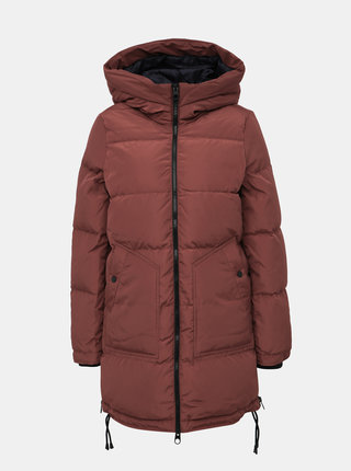 Hnedý zimný prešívaný kabát so zipsami na bokoch VERO MODA Oslo