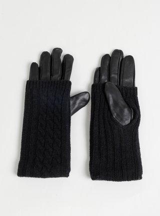 Čierne kožené rukavice s vlneným detailom VERO MODA Mia