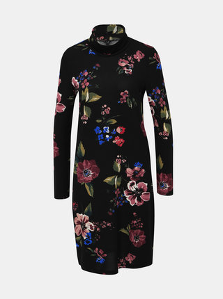 Černé květované svetrové šaty s rolákem VERO MODA Malena