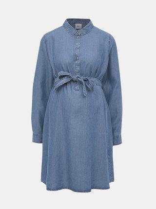 Modré rifľové tehotenské šaty Mama.licious Lydie
