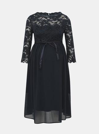 Tmavě modré těhotenské šaty s krajkou Mama.licious Mivana