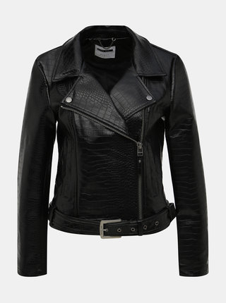 Čierna koženková bunda s krokodýlím vzorom Noisy May Masja