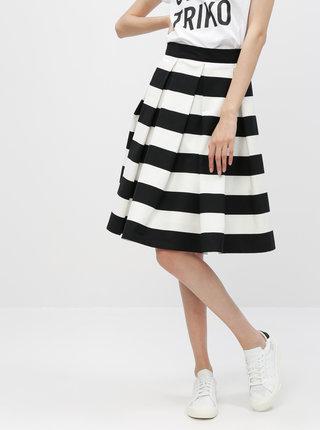 Čierno-krémová pruhovaná kolová sukňa MONLEMON Navy Black