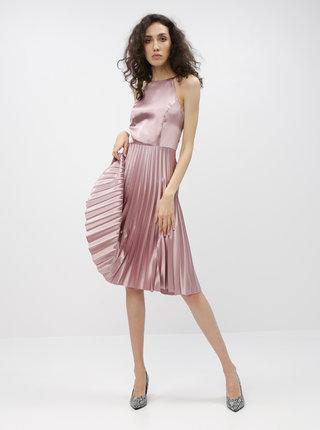 Rúžové šaty s plisovanou sukňou Dorothy Perkins