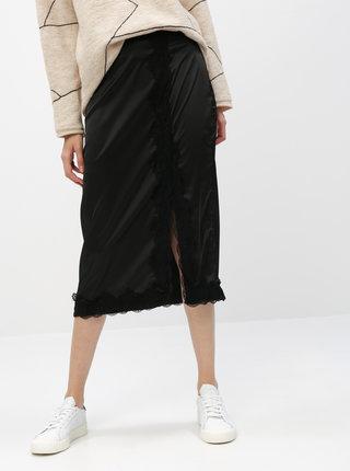 Černá midi sukně s krajkou VILA Ellie