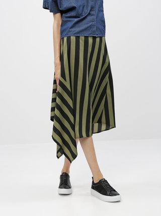 Černo-zelená pruhovaná asymetrická sukně Noisy May Jade