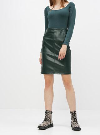 Tmavě zelená koženková sukně VILA Pen