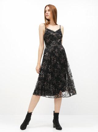 Čierne kvetované šaty na ramienka Dorothy Perkins