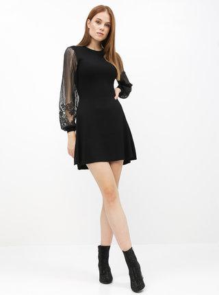 Černé svetrové šaty s krajkovými rukávy ONLY Lacey