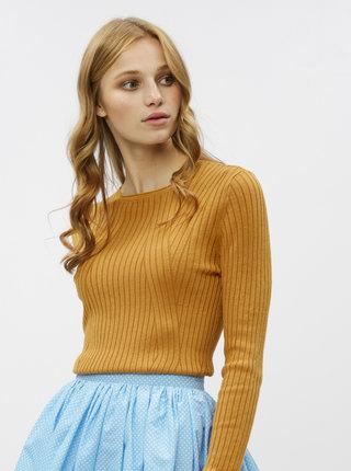 Hořčicový žebrovaný svetr ONLY Natalia