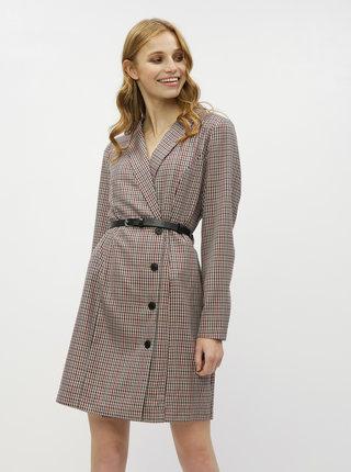 Béžové kostkované šaty s překládaným výstřihem a sukní VERO MODA Alicia