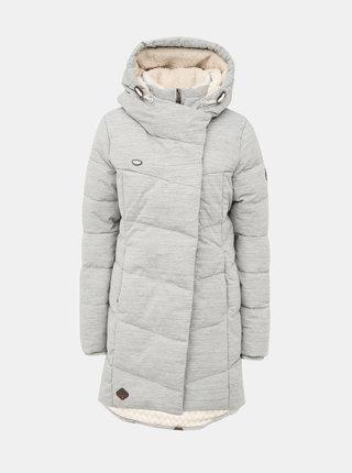 Svetlošedý dámsky prešívaný funkčný zimný kabát Ragwear Pavla