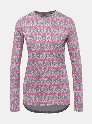 Ružovo-šedé dámske vzorované termo tričko LOAP Parida