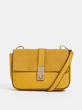 Horčicová crossbody kabelka s detailmi v semišovej úprave Dorothy Perkins