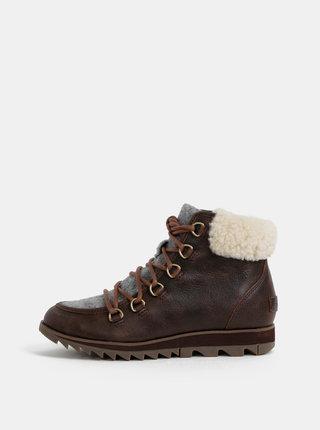 Hnedé dámske kožené zimné nepromokavé topánky SOREL Harlow