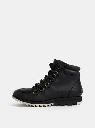 Čierne dámske kožené nepromokavé členkové topánky SOREL Harlow