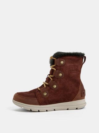 Hnedé dámske semišové zimné nepromokavé topánky SOREL Explorer