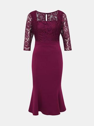 Vínové pouzdrové midi šaty s krajkou Dorothy Perkins