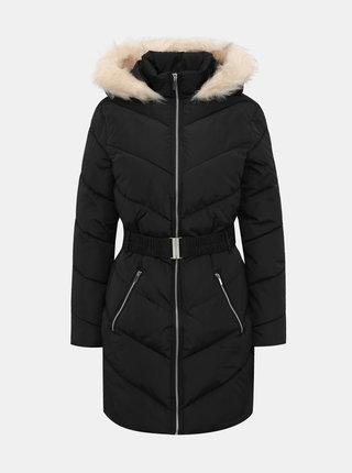 Černý prošívaný zimní kabát Dorothy Perkins
