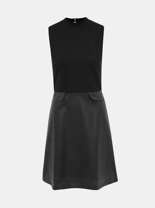 Černé šaty s koženkovou sukní Dorothy Perkins