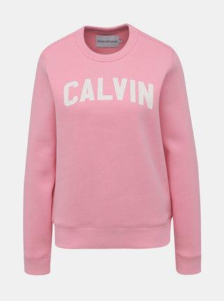 Rúžová dámska mikina s potlačou Calvin Klein Jeans