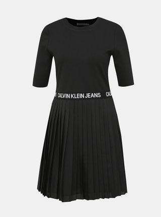 Černé plisované šaty Calvin Klein Jeans