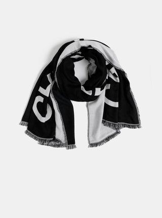 Bílo-černý vzorovaný maxi šátek Calvin Klein Jeans