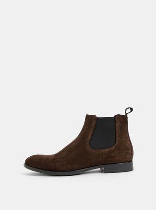 Tmavohnedé pánske semišové chelsea topánky Vagabond Harvey