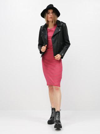 Růžové pruhované basic šaty Jacqueline de Yong Nevada