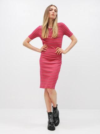 Ružové pruhované basic šaty Jacqueline de Yong Nevada