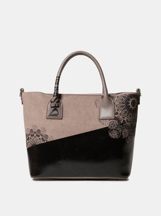 Čierno-béžová kabelka s potlačou Desigual