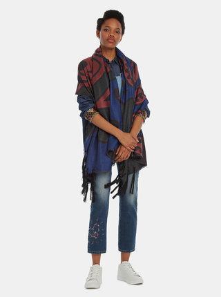 Tmavě modrý vzorovaný šátek Desigual