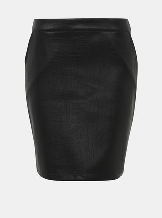 Černá koženková pouzdrová sukně s hadím vzorem Noisy May Kelly