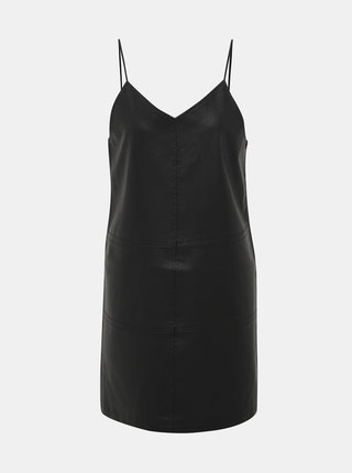 Čierne koženkové šaty Noisy May Joff