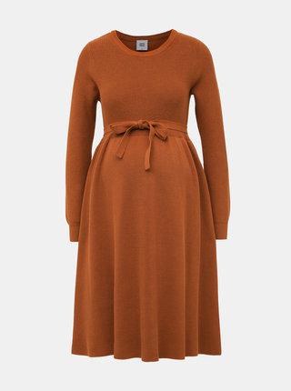 Hnědé těhotenské svetrové šaty Mama.licious Newzoe