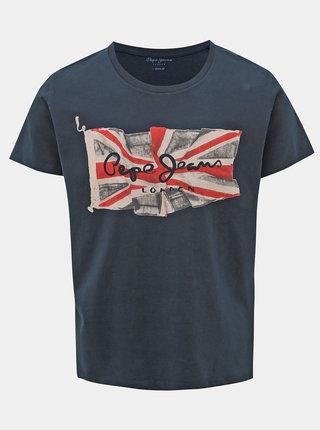 Tmavě modré pánské tričko s potiskem Pepe Jeans Flag Logo