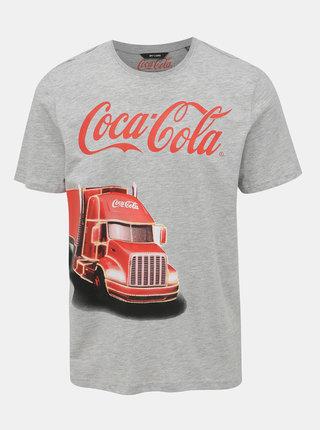 Šedé tričko s potiskem ONLY & SONS Coca Cola Xmas