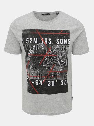 Šedé tričko s potlačou ONLY & SONS Alec