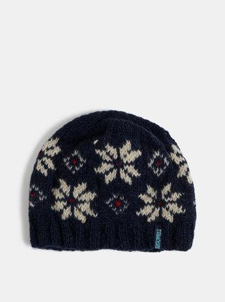 Tmavě modrá vlněná vzorovaná čepice Tranquillo