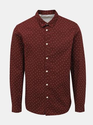 Hnědá slim fit košile s drobným vzorem Selected Homme Marcel