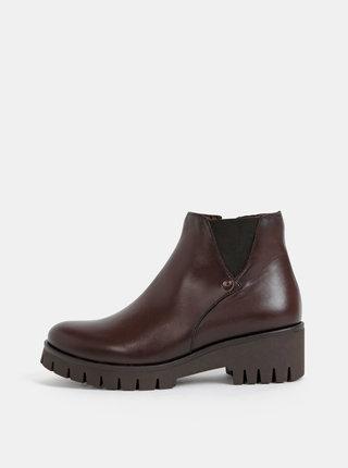 Tmavohnedé kožené chelsea topánky na podpätku OJJU Botin