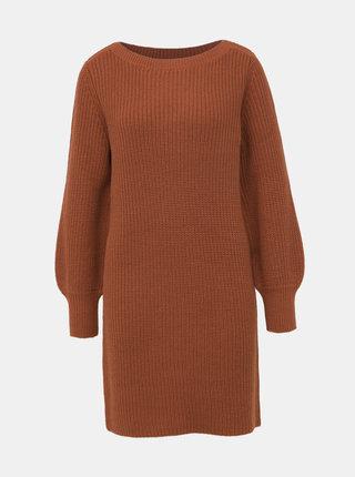 Hnědé svetrové šaty ONLY Attilana